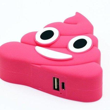 Lachende Drol Emoji Powerbank 3600 mAh - Donkerroze