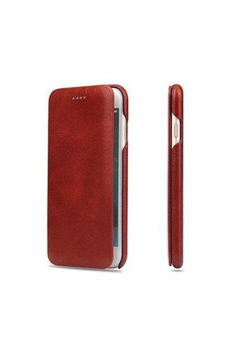 Fierre Shann Rode Leren Bookcase iPhone 8