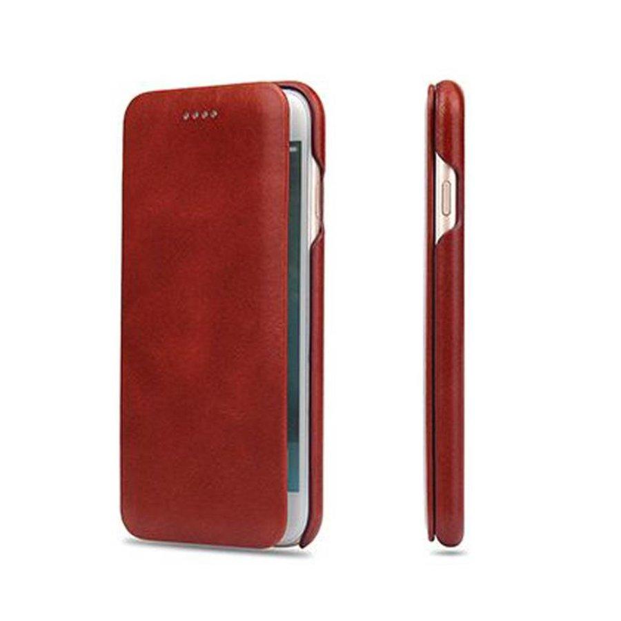 Fierre Shann Rode Leren Bookcase voor de iPhone 8