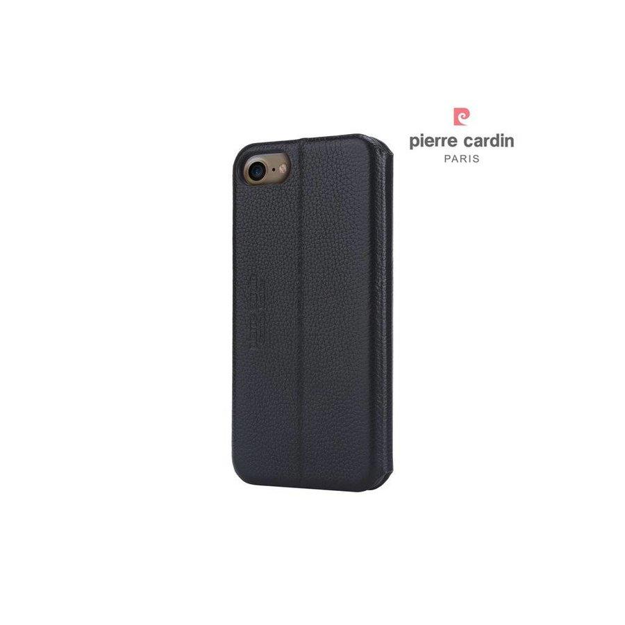 Pierre Cardin Leren Bookcase Zwart voor  iPhone 7