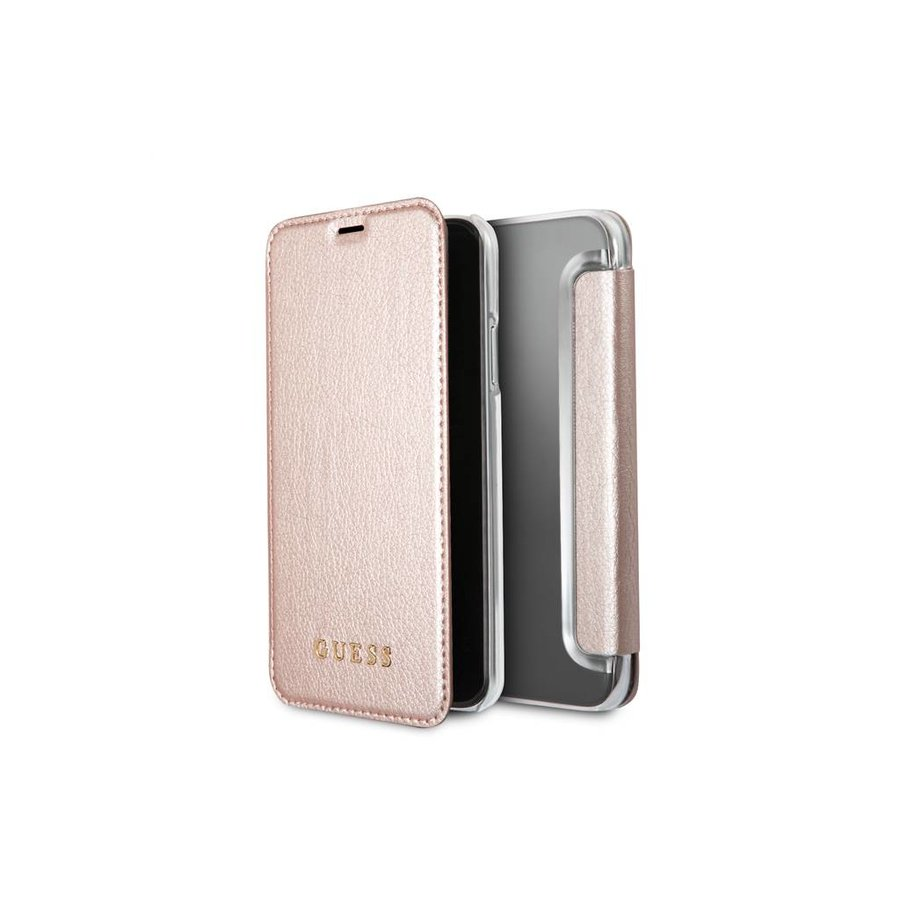 Guess Iridescent Bookcase Rose Gold voor iPhone X