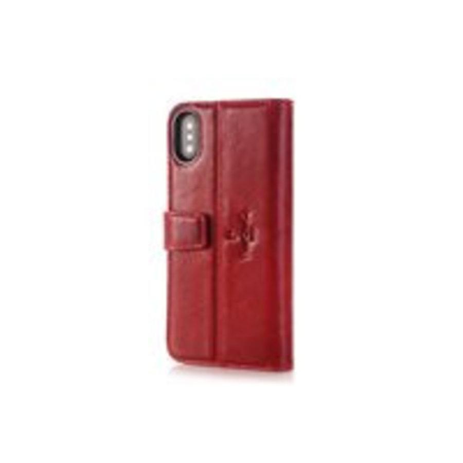 Pierre Cardin Leren Bookcase Rood voor iPhone X