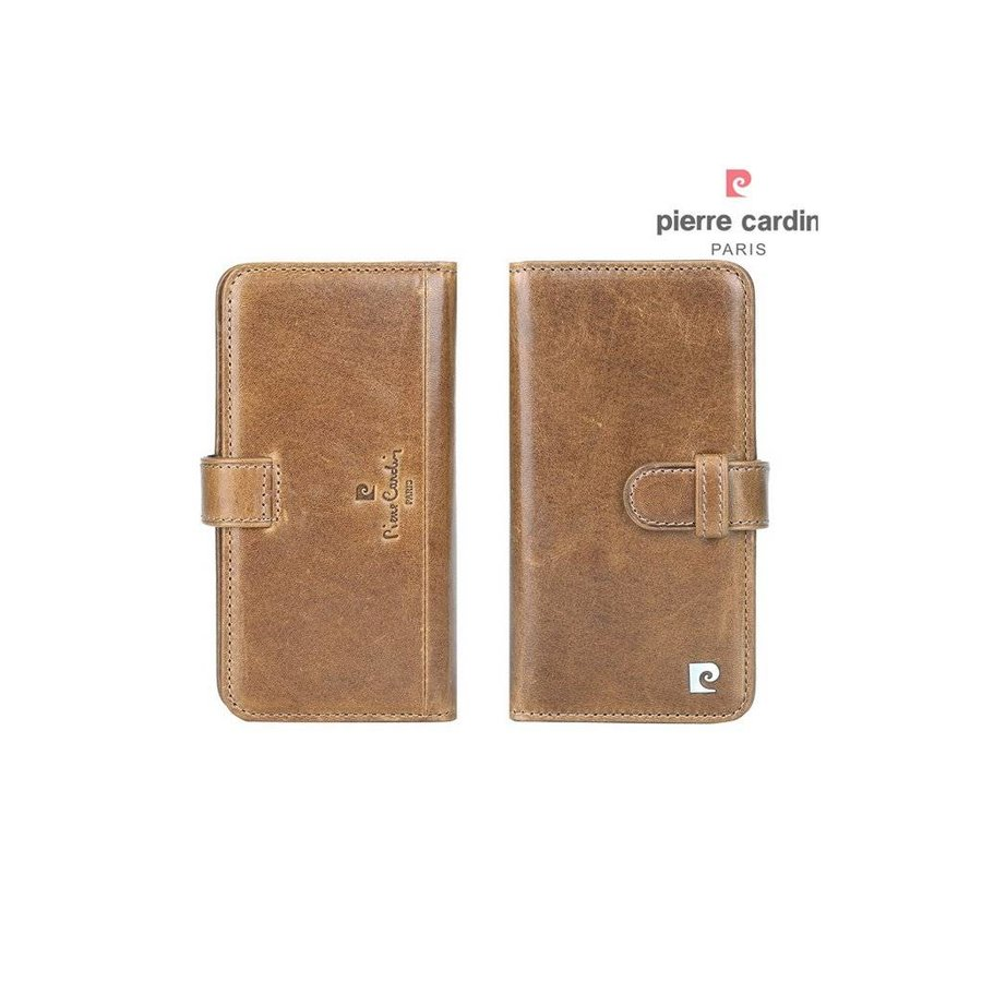 Pierre Cardin Boekmodel Genuine Leather Voor Apple IPhone 7/8 Plus - Bruin