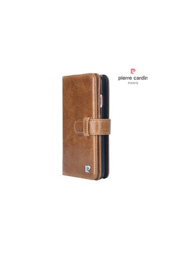 Pierre Cardin Bookcase Genuine Leather Voor Apple IPhone 7/8 Plus - Bruin