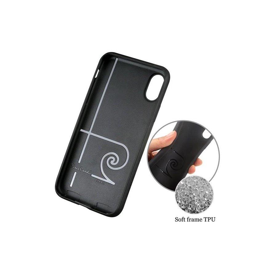 Pierre Cardin Siliconen Backcase met Leer Zwart voor iPhone X