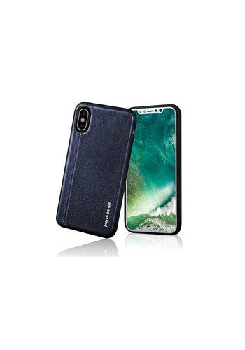 Pierre Cardin Siliconen Backcase met Leer Blauw iPhone X