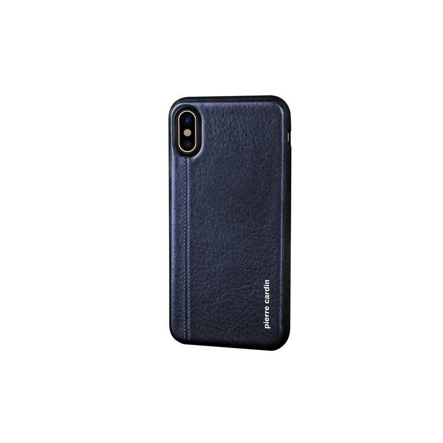 Pierre Cardin Siliconen Backcase met Leer Blauw voor iPhone X