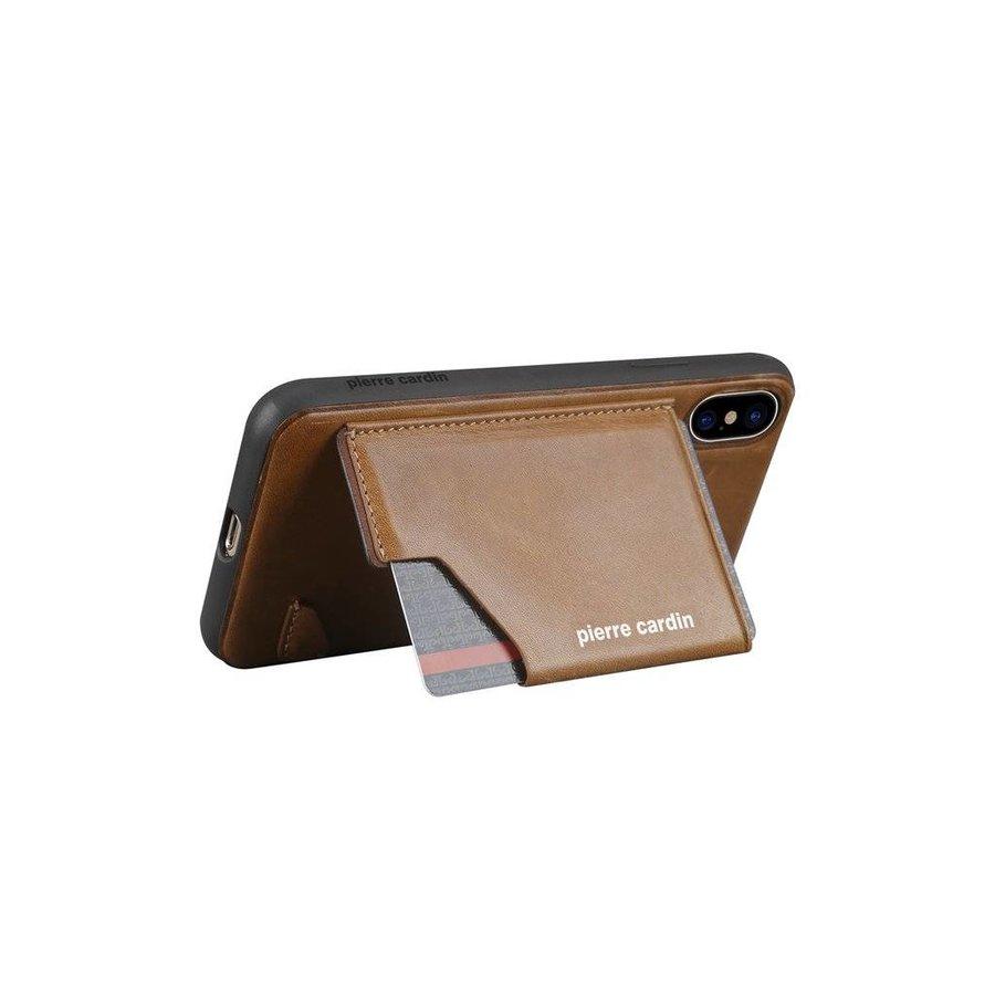 Pierre Cardin Leren Backcase Bruin iPhone X