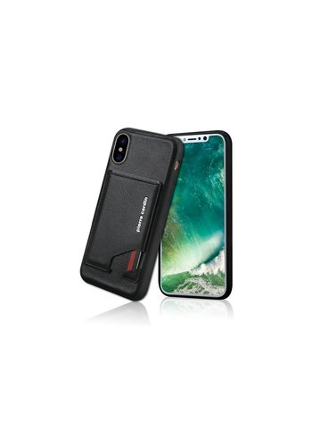 Pierre Cardin Leren Backcase Zwart iPhone X