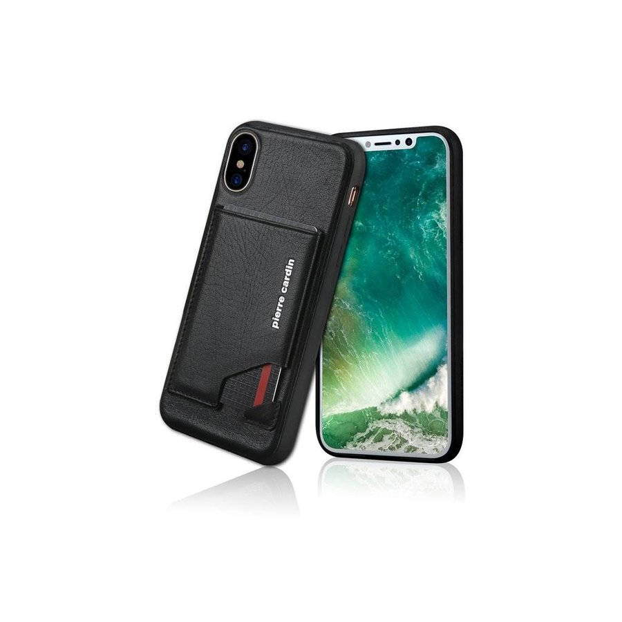Pierre Cardin Leren Backcase Zwart iPhone X