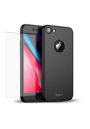 iPaky Apple iPhone 7 / 8 Full Cover Case met Tempered Glass (Zwart)