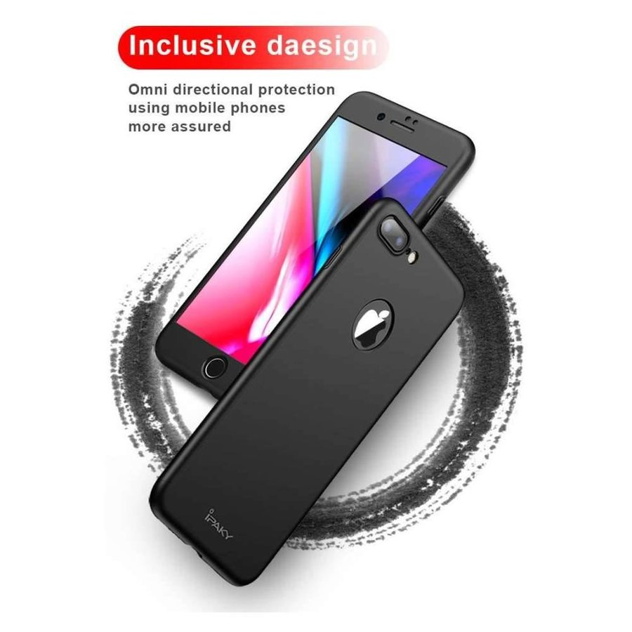 iPaky Apple iPhone 7 / iPhone 8 Full Cover Case met Tempered Glass Zwart