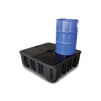 Bac de rétention plastique, grand format 1380x1290x480mm - avec caillebotis