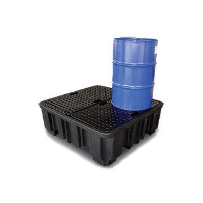 Bac de rétention plastique, grand format 1380x1290x480mm - avec caillebotis - contenu 485L