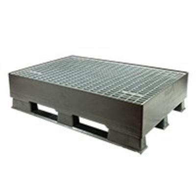Palette plastique de rétention 1200x800x310mm - avec grille