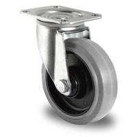 Roue pivotante de diamètre 125 mm avec roulement à billes en caoutchouc
