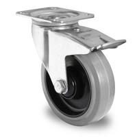 Roulette pivotante avec frein 125 mm de diamètre - caoutchouc