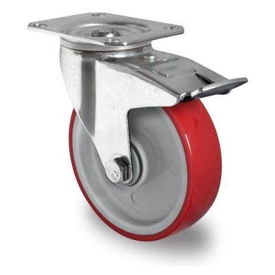 Roulette avec frein 125mm diamètre avec roulement à billes - PA / PU