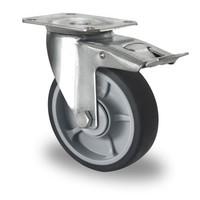 Roulette avec frein 125mm diamètre avec roulement à billes - PP /TPR