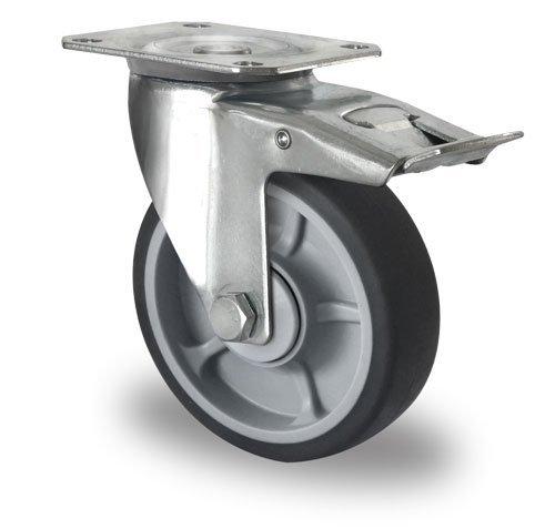roulette avec frein 125mm diam tre avec roulement billes pp tpr rotom sas. Black Bedroom Furniture Sets. Home Design Ideas