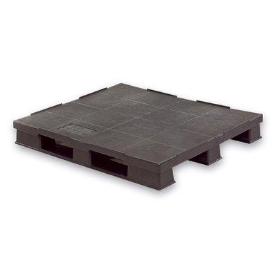 Kunststoffpalette, 3 Kufen, geschlossenes Deck mit Rand, 1200x1000x150mm