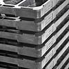 Kunststoffpalette, 6 Füße, nestbar, offenes Deck, 800x600x130mm