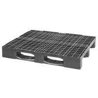 Kunststoffpalette, 3 Kufen, offenes Deck, 1200x1000x160mm