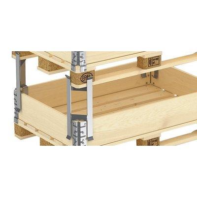 Paletten Abstandhalter aus verzinktem Metall für Aufsatzrahmen