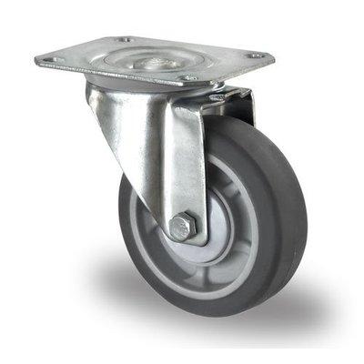 Lenkrolle mit Kugellager für Rollbehälter, PP / TPR, 100mm Durchmesser