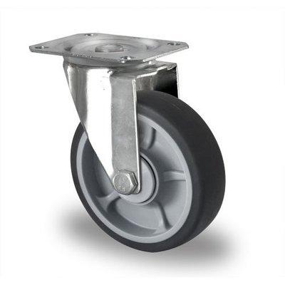 Lenkrolle mit Kugellager für Rollbehälter, PP / TPR, 125mm Durchmesser