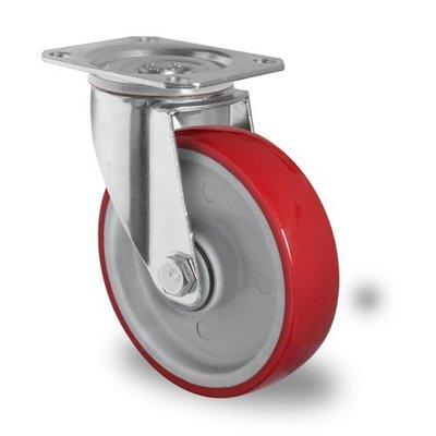 Lenkrolle mit Kugellager für Rollbehälter, PA / PU, 100mm Durchmesser