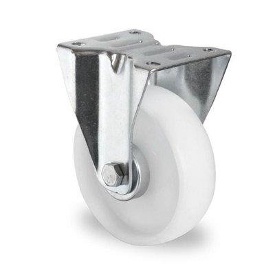 Bockrolle mit Rollenlager für Rollbehälter, PP-Kunststoff, 100mm Durchmesser