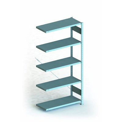 Anbauregal für Fachbodenregal 54202, 5 Böden, verzinkt, 1000x500x2000mm