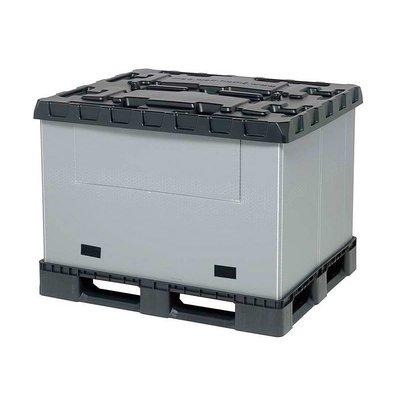 Palettenbox aus Kunststoff, faltbar, 3 Kufen, mit Schwenkklappe, 1227x1027x965mm