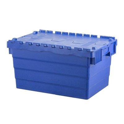 Kunststoffbehälter, 60 l, stapelbar, nestbar, Klappdeckel, 600x400x320mm