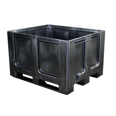 Palettenbox, 610 l, geschlossen, Recycling Kunststoff, 3 Kufen, 1200x1000x760mm