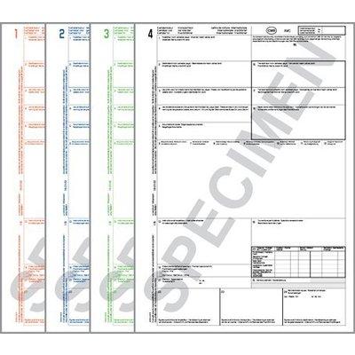 CMR Frachtbrief 4321 für Laserdrucker, 4-fach Satz, ohne Nummerierung