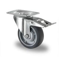 Rueda giratoria con freno Ø 100mm rodamiento bola y rodadura PP/TPR