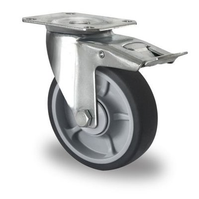 Rueda giratoria con freno Ø 125mm rodamiento bola y rodadura PP/TPR
