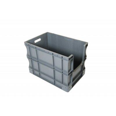 Caja apilable Euronorm 600x400x430mm con agarre abierto
