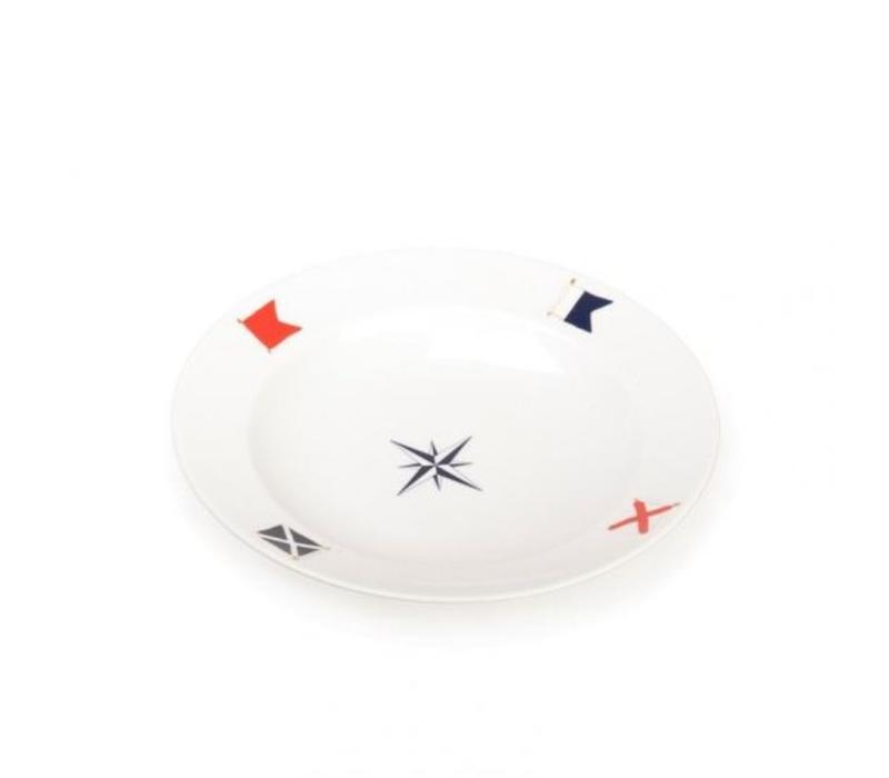 Seahouse - diep bord Blue Compass ø 28 cm