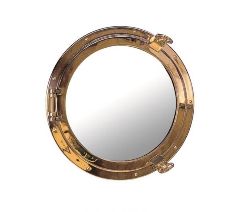 Patrijspoort spiegel messing ø 30 cm