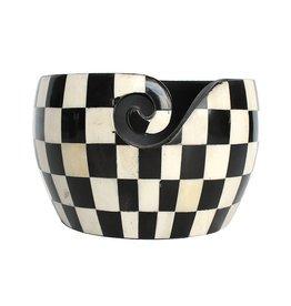 Yarn Bowl zwart-wit geruit