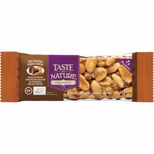 Taste of Nature Dark Chocolate Peanut Caramel Nut Bar Biologisch