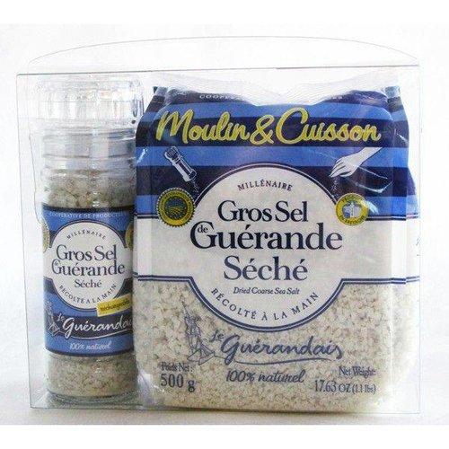 Le Guerandais Keltisch Zeezout Zoutmolenset met 75g Gevulde Zoutmolen en 500g Gedroogd Keltisch Zeezout
