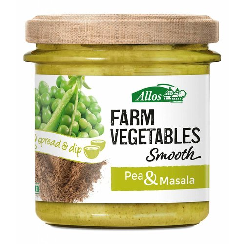 Allos Farm Vegetables Smooth Doperwten en Masala Spread Biologisch