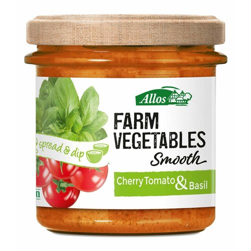 Allos Farm Vegetables Smooth Cherry Tomaat en Basilicum Spread Biologisch