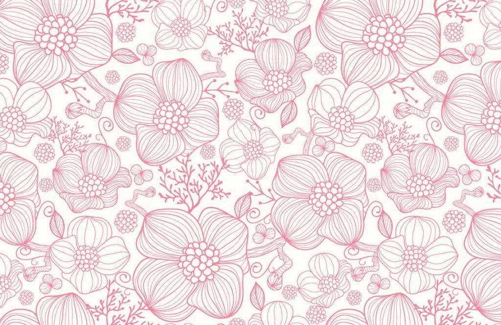Genoeg Behang met grote roze bloemen - Fotobehang @RU11