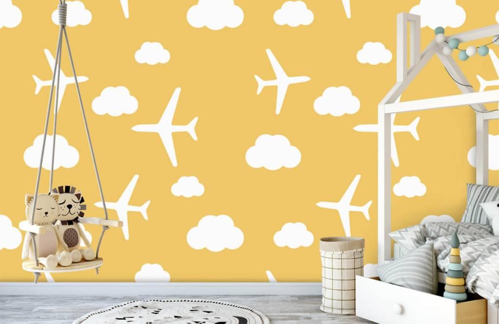 Behang Kinderkamer Geel : Geel behang met vliegtuigjes en wolken fotobehang