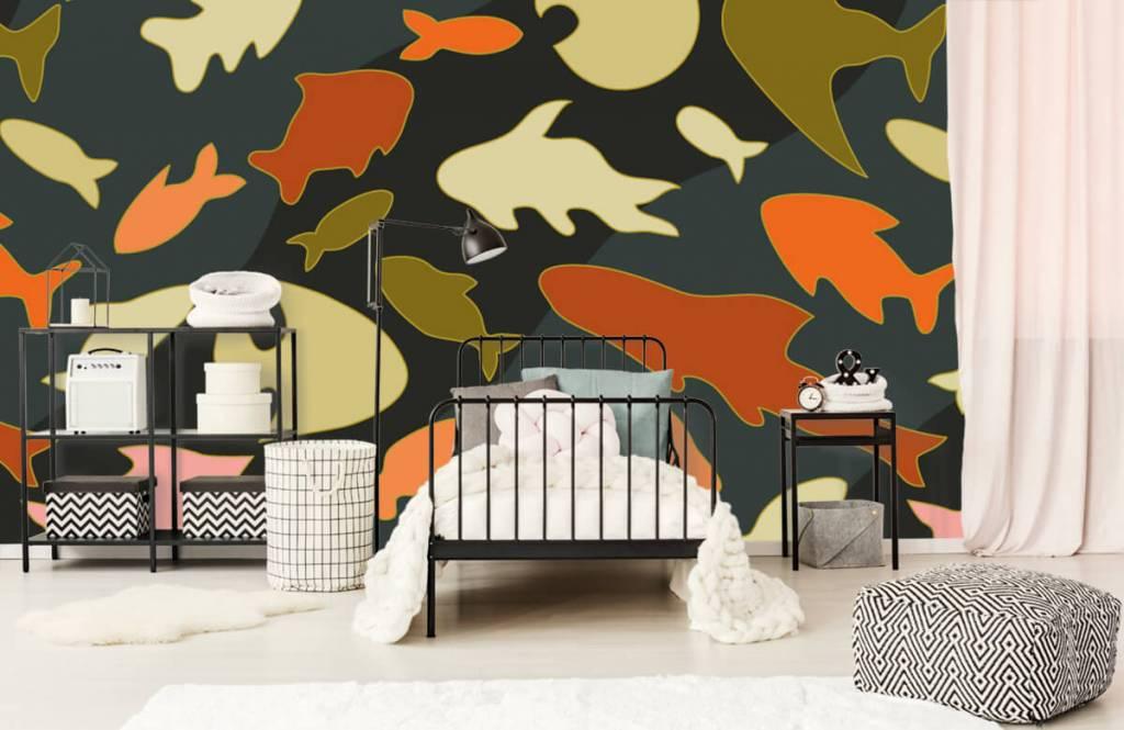 Behang Kinderkamer Vissen : Behang met vissen camouflage fotobehang